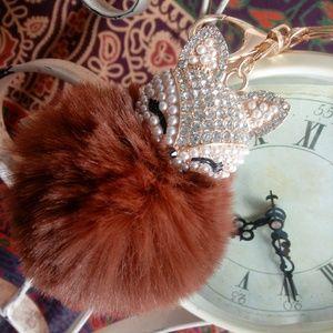 Precious Pom Pom Fox Key Chain Purse Bling